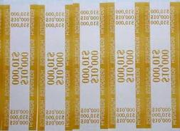 25 - Mustard $100 Self-Sealing Currency Bands $10,000 Cash M