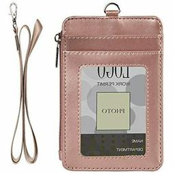 Badge Holder With Zipper, PU Leather ID Card Wallet 2 Window