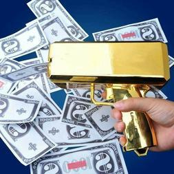 Cash Cannon Money Gold Gun Launcher w/100pcs Fake $100 Bills