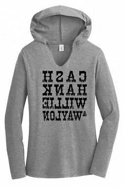 Cash Hank Willie Waylon Ladies Hoodie T-Shirt Country Music