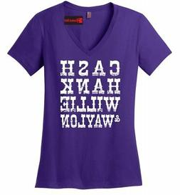 Cash Hank Willie Waylon Ladies V-Neck T Shirt Country Music