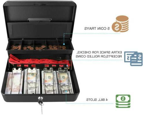Metal Cash Box Locking Money Safe Coins