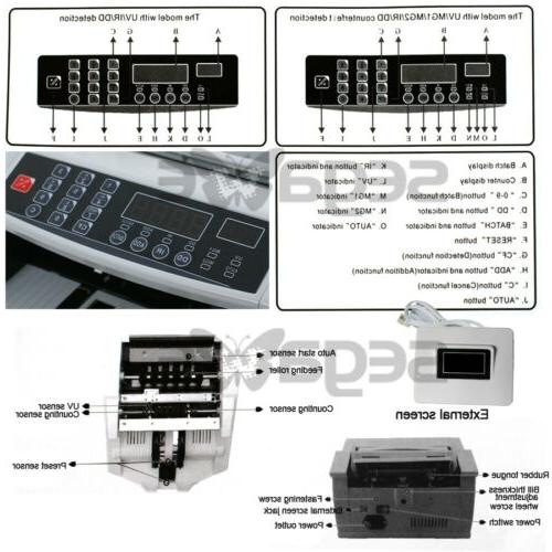 Money Bill Counter Machine Cash Counting Counterfeit Currency