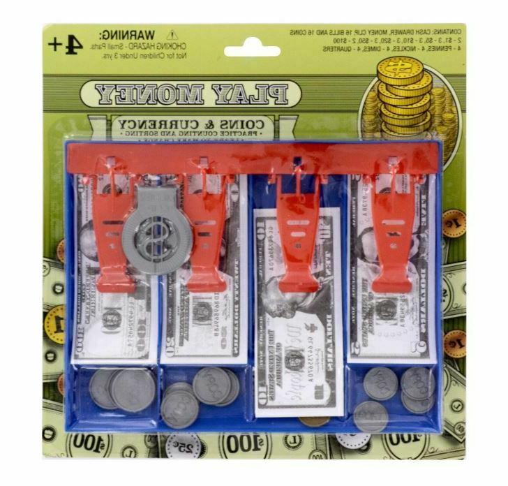 Play Money Sets, 34 pc 16 paper bills 16 coins plastic cash