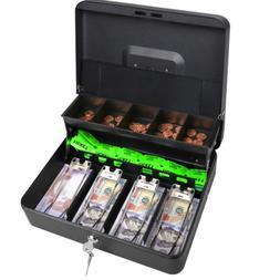 Metal Cash Box Locking Money Tray w/Lock&Key Security Safe C