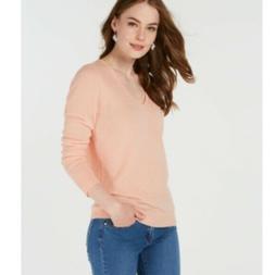 Charter Club Pure Cashmere V-neck Sweater Blush Cream XL $13