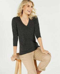 Charter Club Pure Cashmere V-neck Sweater Grey XL $139