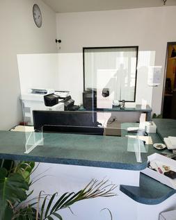 SNEEZE GUARD Plexiglass CASHIER SHIELD, checkout counter Sta