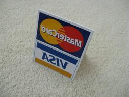VISA MasterCard Cash Register Counter Display Table TENT Sig